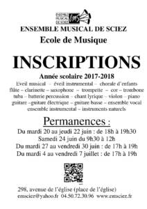 Affiche inscriptions 2017-2018