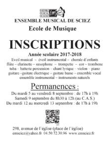 Affiche inscriptions 2017-2018 2