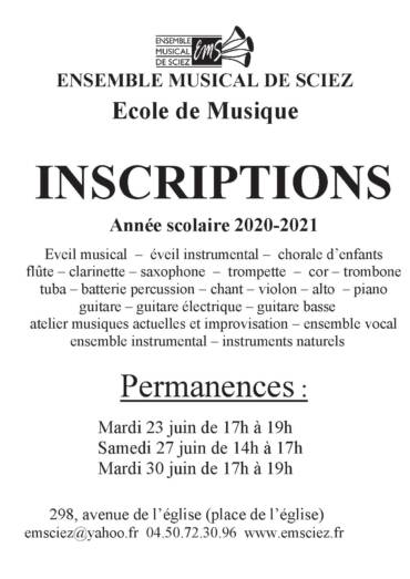 INSCRIPTIONS 2020-2021 à l'école de musique