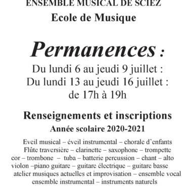 PERMANENCES D'INSCRIPTIONS